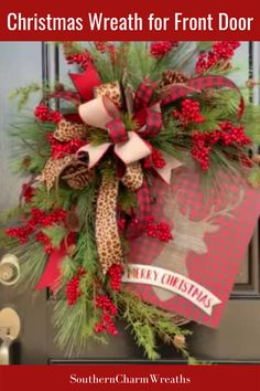 Decorate your front door with a beautiful evergreen and berry wreath from Southern Charm Wreaths. The premium artificial pines and the bow with buffalo check and leopard print ribbon surround the prettiest Merry Christmas sign.