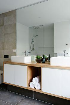Hamlan homes bathroom 344 Modern Bathroom Decor, Bathroom Designs, Bathroom Ideas, Ensuite Bathrooms, Modern Sculpture, Lighting Design, Tile Floor, New Homes, Houses
