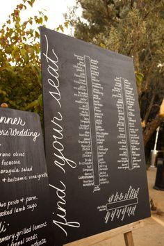 simple & chic escort display chalkboard