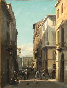 Ercole Calvi ( 1824 1900 ) - Moti di rivolta a Verona - 1867  - olio s/tela  112 x 86 cm. - la scena si svolge nell'attuale via Cappello, sullo sfondo si intravede piazza Erbe e il Palazzo Maffei e si riferisce ai moti del 1866...( asta Pandolfini 2013)