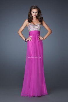 Magenta Strapless Sweetheart Prom Dress By La Femme 18528