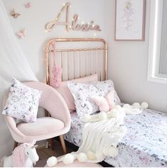 Gorgeous girl s room with pastels and florals Styling thehstyled Featuring Hope Jade Pom Pom throw blank in white Spinkie Pom garland in light pink Available at Cute Bedroom Ideas, Cute Room Decor, Girl Bedroom Designs, Teen Room Decor, Bedroom Decor, Small Room Bedroom, Girls Bedroom, Bedrooms, Floral Room