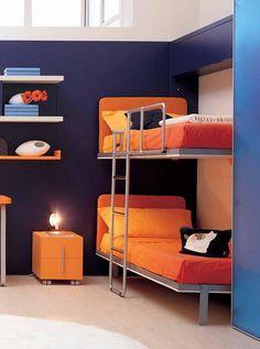 Stylish-Kids-Bedroom-Design-with-Metal-Bunk-Bed-Frame