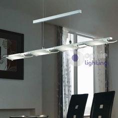 Lampadario lampada sospensione design moderno acciaio cromato vetro ...