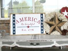 America the Beautiful 1776 4th of July American Sign | Etsy Porch Repair, Farmhouse Frames, Home Porch, Laundry Signs, Greenery Wreath, Porch Signs, Christmas Signs, My Favorite Part, Wood Print