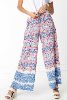 Pantolon - Desenli Geniş Kesim Pantolon