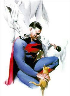 Alex Ross's JSA Superman and pets