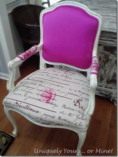 Awesome reupholstered French armchair, pinks and script fabric