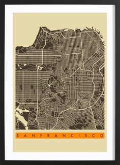 San Francisco II as Poster in Wooden Frame by Jazzberry Blue | JUNIQE