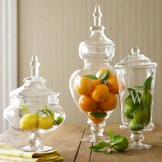 Decorating With Apothecary Jars...endless possibilities!  Look @ the colors you can use to brighten up a room!