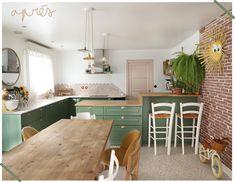 Avant / Apres Cuisine - Fait Maison - Maïa Chä Pvc Flooring, Vinyl Flooring, Farrow Ball, Terrazzo, Interior Design, Kitchen Floor, Table, Room, Furniture