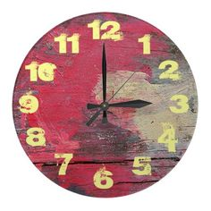 painted distressed wood clock featured at www.zazzle.com/sharoncullars