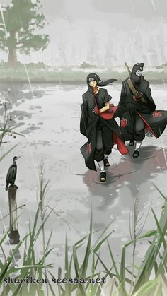 """Itachi, what are we looking for?"" ""..."" ""Come on, did Pein send us on this mission?"" ""No."" ""What??? Then what are we looking for???"" ""...Dango..."" ""What's with you and dango, huh?"" ""... I'm hungry... Now shut it Kisame and start looking for that Dango Shop."" ""..."""