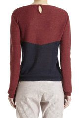 A.p.c. Color Blocked Sweater in Red (navy) - Lyst Bloqueo De Color e87c36dd31e2