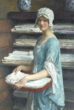 Her Dower A study of a girl arranging linen:  British Painter William Henry Margetson (1861-1940)  William Henry Margetson studied at the South Kensington Schools and at the Royal Academy, where he exhibited from 1885. The subjects of his paintings were mostly beautiful women.