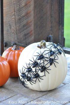 Halloween pumpkin idea using a Michaels faux pumpkin and spiders! By Kara Allen | Kara's Party Ideas | KarasPartyIdeas.com #trickyourpumpkin #sweepstakes #MichaelsMakers