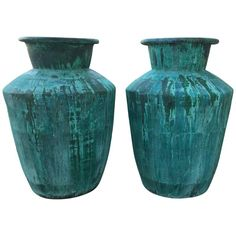 Large Pair of Architectural Copper Jardinieres | From a unique collection of antique and modern planters and jardinieres at https://www.1stdibs.com/furniture/building-garden/planters-jardinieres/