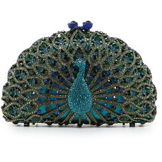 Kate Landry Social True Peacock Clutch ❤ liked on Polyvore featuring bags, handbags, clutches, purses, accessories, peacock handbag, man bag, hand bags, handbags purses and peacock feather purse