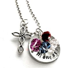 Personalized Mothers Birthstone Keepsake Necklace Mommy Name... ($22) ❤ liked on Polyvore featuring jewelry