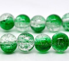 Green Wholesale 10mm Round Crackle Glass Beads G2243 - 20/50/100