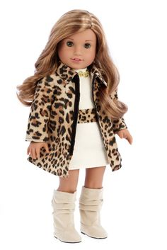 Faux suede cheetah coat with ivory cotton dress with cheetah belt and golden necklace matched with faux suede ivory high boots.  Our doll clothes fits 18 inch American Girl dolls. Designed in the USA and sold Exclusively by DreamWorld Collections. DOLL(S) NOT INCLUDED U.S. CPSIA CHILDREN'S PRODUCTS SAFETY CERTIFIED