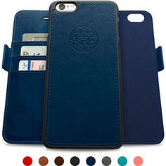 Dreem iPhone 66s Wallet Case with Detachable SlimCase Fibonacci Luxury Series Vegan Leather RFID Protection 2 Kickstands Gift Box  Dark Blue ** See this great product.