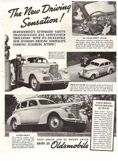 """Vintage and original Oldsmobile paper print ad from a 1938 magazine. This advertisement shows a service station attendant, gas pump and various shots of an Oldsmobile. Reads, """"The New Driving Sensatio"""