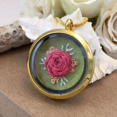 This is just stunning. Gift for Her Flower Pendant Flower Necklace Pink by SewnbytheBeach