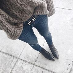 Cozy sweaters and pointed toe booties. // Follow @ShopStyle on Instagram for more inspo.