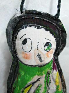 Wall Art Doll Funky Strange Whimsical Painted Fabric Handmade