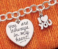 """Summer Collection - """"You are Always in My Heart"""" Charm, I Love You Charm shown on Forged Link Charm Necklace #JamesAvery"""