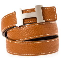 Pre-owned Hermes Belt ($788) ❤ liked on Polyvore featuring accessories, belts, apparel & accessories, clothing accessories, studded belt, genuine leather belt, 100 leather belt, tan leather belt and buckle belt