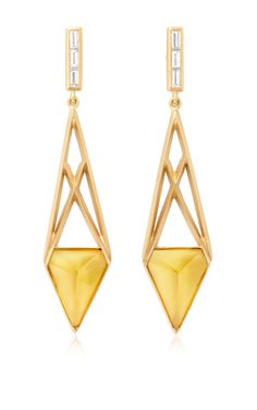 Citrine And White Diamond Open Cage Earrings by Monique Péan for Preorder on Moda Operandi