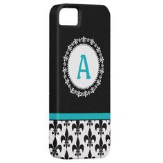 Aqua, Black, White Monogram Fleur de Lis iPhone 5 Case