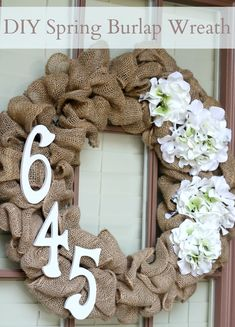 DIY Spring Burlap Wreath - Like the idea of the address numbers on the burlap wreath. I could put the room number - Burlap Projects, Burlap Crafts, Wreath Crafts, Diy Wreath, Door Wreaths, Burlap Wreaths, Wreath Ideas, Burlap Wreath Summer, Wreath Making