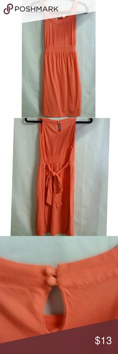 """Old Navy  coral/ orange sun dress * Color between coral & orange/ peachy * 37"""" length from shoulder to hem * 15"""" pit to pit * 17 """" across front of hip * fabric has lots of give * All measurements are taken flat & are approximate Old Navy Dresses"""