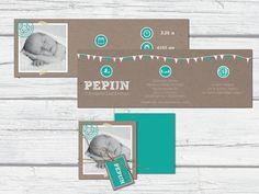 Kraft geboortekaartje met foto, stoer simpel en zo zelf te ontwerpen bij Aagjeontwerp #harmonicakaart #kraft #babystuff #pregnant #zelfontwerpen