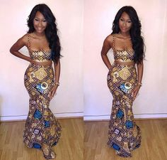 Love this Look from Head to Toe of this African Print Crop Top and Mermaid Skirt! African Attire, African Wear, African Women, African Dress, African Style, African Clothes, African Prom Dresses, Dresses Short, African Inspired Fashion