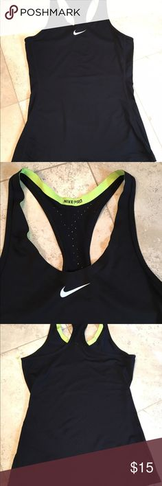 Nike pro dry fit tank top This tank is a fitted. It has a razor back to keep you cook. Great for the gym is just casual wear. In great condition. Nike Tops Tank Tops