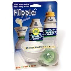 Flipple: Baby Bottle on the go -Turns a standard water bottle into a baby bottle