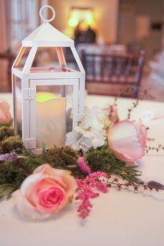 Lantern Style Centerpiece At Rustic Wedding