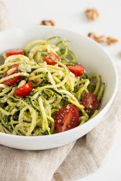 Oil Free Walnut Pesto Zucchini Noodles
