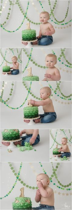 Nolden's Green Ombre and Gold Cake Smash Session – Indianapolis Photographer green ombre und gold birthday cake smash session – erstes geburtstagsthema Green Birthday Cakes, Safari Birthday Cakes, Jungle Theme Cakes, Smash Cake First Birthday, Dinosaur First Birthday, Jungle Theme Birthday, Baby Cake Smash, First Birthday Themes, 1st Boy Birthday