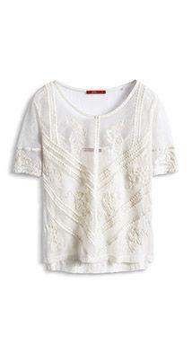 Esprit / embroidered mesh t-shirt