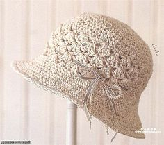 Beige Hat with Ribbon free crochet graph pattern virka hatt Crochet Flower Hat, Crochet Adult Hat, Crochet Summer Hats, Bonnet Crochet, Crochet Beanie, Knit Or Crochet, Crochet Scarves, Crochet Crafts, Crochet Clothes