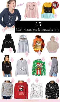 Browse through our collection of cute, fun, and cool cat sweatshirts and hoodies and pick your favorite cat-themed sweatshirt.