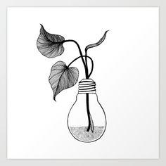 Miracle art print by Kriszti Balla #krisztiballa #miracle #illustration #bulbvase #diy #bw #blackandwhite #babyplant #plant #greenisqueen