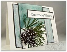 Stampin' Up! ... Ornamental Pine Christmas Wishes ... like the dark mat lines and how the bin branch seems to pop off the card ... great design ...