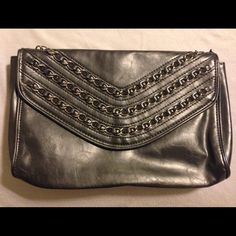 """Chain Clutch Chain clutch from Forever 21 with magnetic snap closure. 3 interior pockets (one zippered.) 10.5"""" x 7"""". Forever 21 Bags Clutches & Wristlets"""