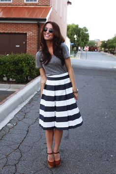 Wear gray with a black and white striped skirt like this!  #sistermissionary